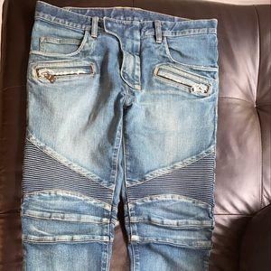 BALMAIN Men's Faded Blue Slim Jeans